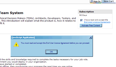 This EULA implementation 'knows' if the user ticks the box without actually having read the agreement