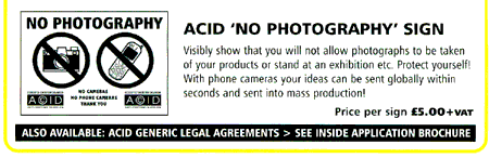 No photography allowed, from ACID