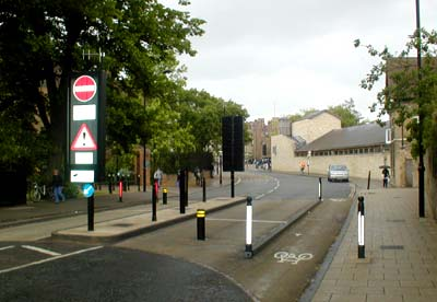 Rising bollards in Silver Street, Cambridge