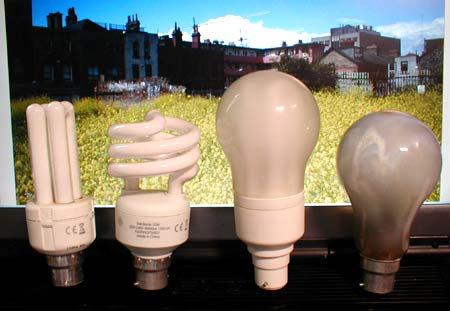 Some types of CFL compared with a 150W incandescent