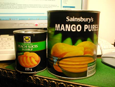 Morrisons Peaches and Sainsbury's Mango Puree