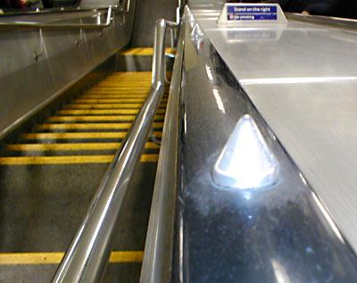 Handrail spikes at Highbury & Islington station, London