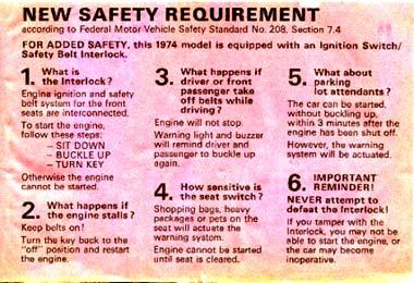 Interlock warning label from Volkswagen Karmann Ghia