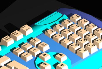 A keyboard with a customisable extended character pad that I modelled back in 2000 - this was done in an early 1990s UNIX version of AutoCAD, and it shows!