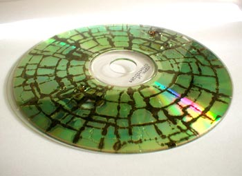 A CD with its functionality destroyed using GHz-range radio frequencies