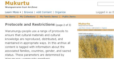 Screenshot of Mukurtu archive website