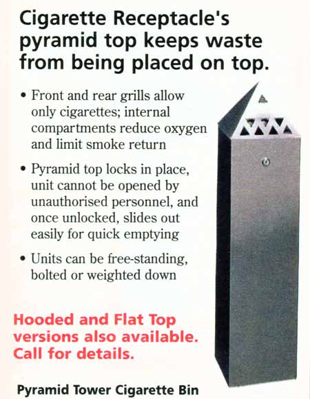 Cigarette receptacle with sloping top