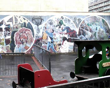 A playground somewhere near the Barbican, London. Note the sinister 'D37IL' nameplate on the engine