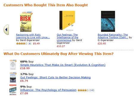 Amazon's recommendation features demonstrate social proof